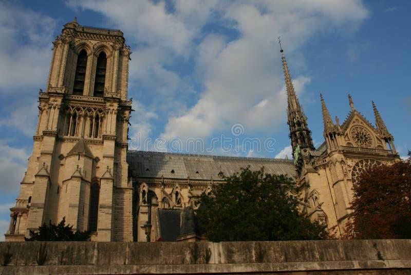 Zijaanzicht van de Kathedraal van Notre Dame, Parijs stock fotografie