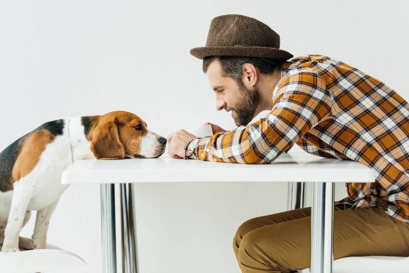 zijaanzicht van de mens wat betreft hondneus stock foto
