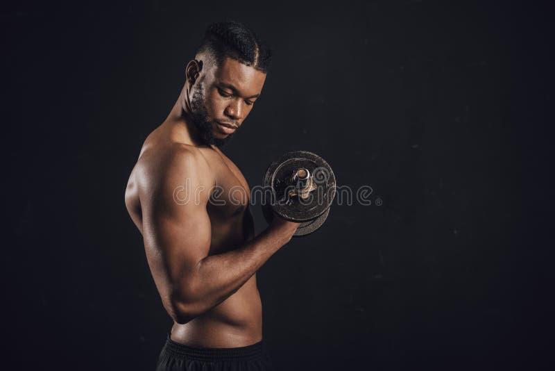 zijaanzicht van de spier shirtless Afrikaanse Amerikaanse mens die met domoor uitoefenen stock foto's
