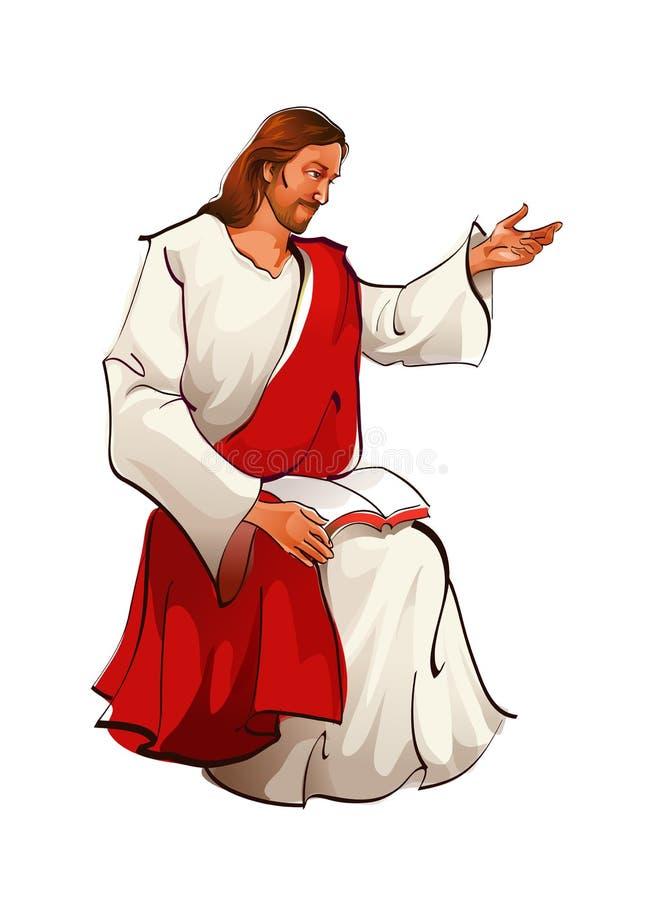 Zijaanzicht van de zitting van Jesus-Christus stock illustratie
