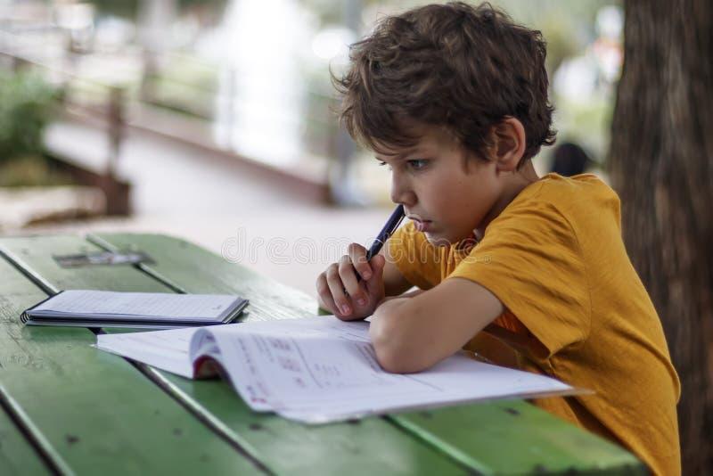 Zijaanzicht van een schooljongen die over het doen van thuiswerk dacht stock afbeeldingen