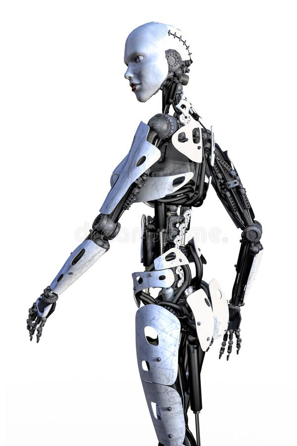 Zijaanzicht van een Vrouwelijke Geïsoleerde Robot vector illustratie