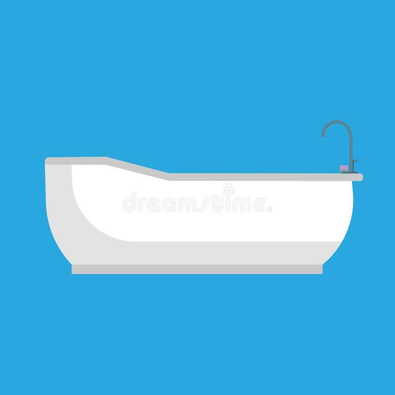 Zijaanzicht van het badkuip het ceramische vectorpictogram Van het de tapkraanconcept van de wasgezondheid ontspant het klassieke royalty-vrije illustratie