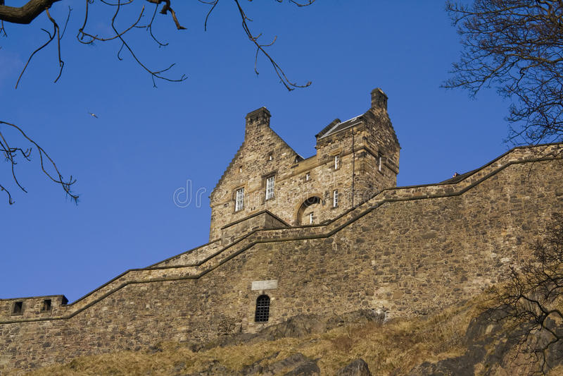 Zijaanzicht van het Kasteel van Edinburgh, Schotland royalty-vrije stock fotografie