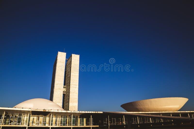 Zijaanzicht van het nationale congres in brasÃlia stock foto