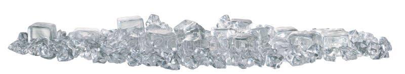 Zijaanzicht van ijsblokjes stock afbeelding