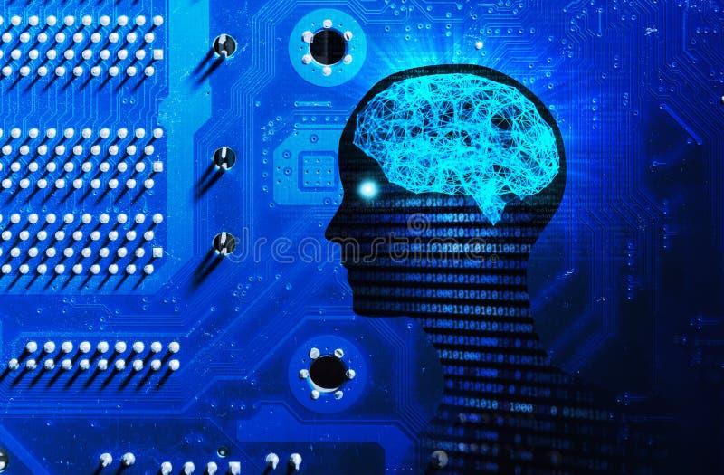 Zijaanzicht van menselijke hoofdvorm, hersenen, en motherboard Modeliso stock illustratie