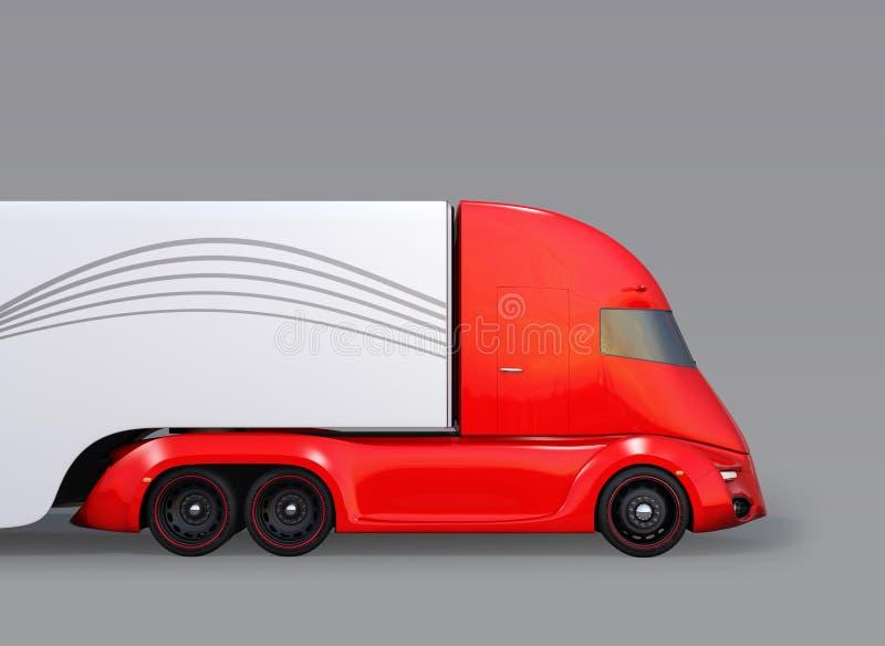 Zijaanzicht van metaalrood zelf-drijft elektrische semi die vrachtwagen op grijze achtergrond wordt geïsoleerd stock illustratie