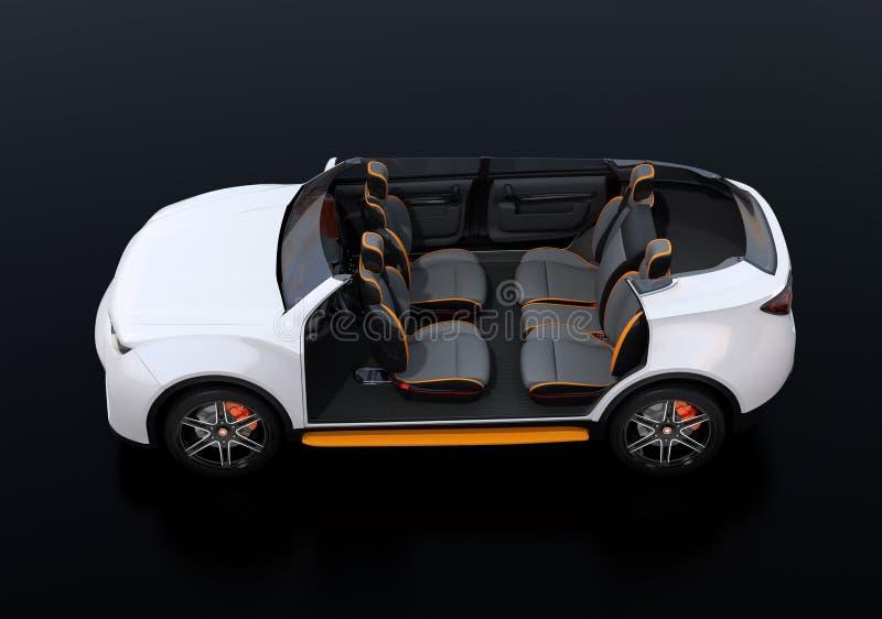 Zijaanzicht van schemawit zelf-drijft Elektrische SUV-auto op zwarte achtergrond stock illustratie