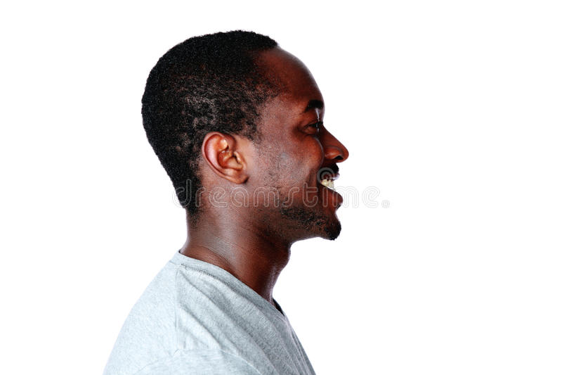 Zijaanzichtportret van de Afrikaanse mens stock afbeelding