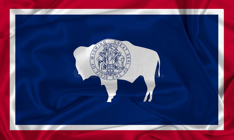 Zijde vlag Wyoming royalty-vrije stock afbeelding