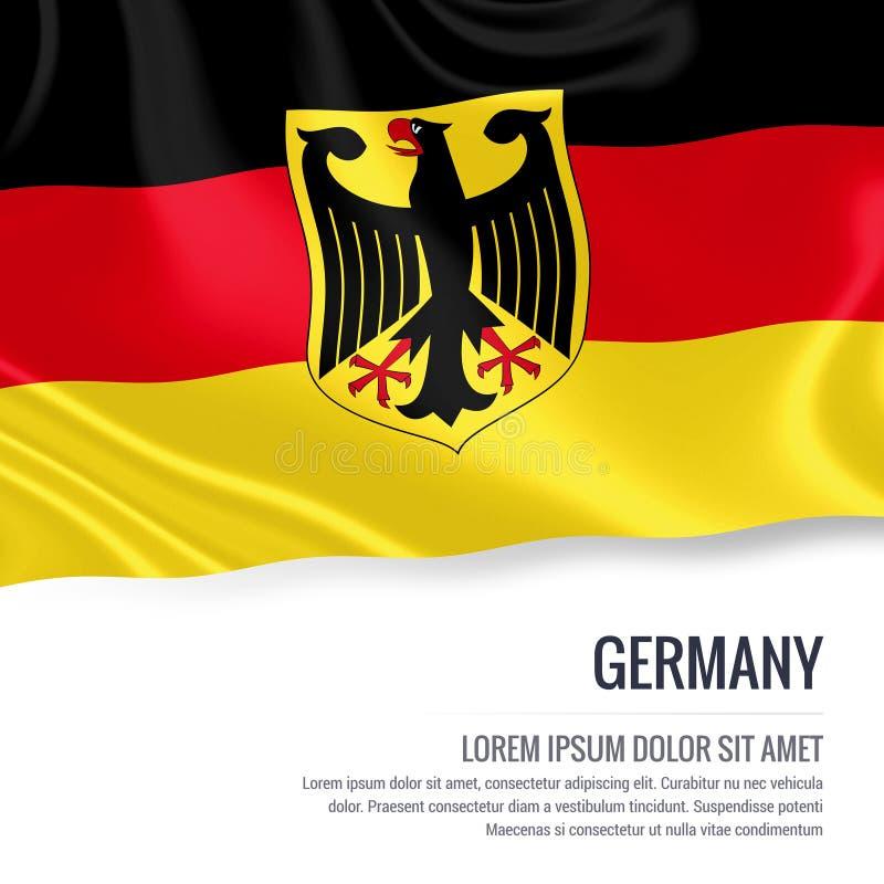Zijdeachtige vlag die van Duitsland op een geïsoleerde witte achtergrond met het witte tekstgebied golven voor uw advertentieberi vector illustratie