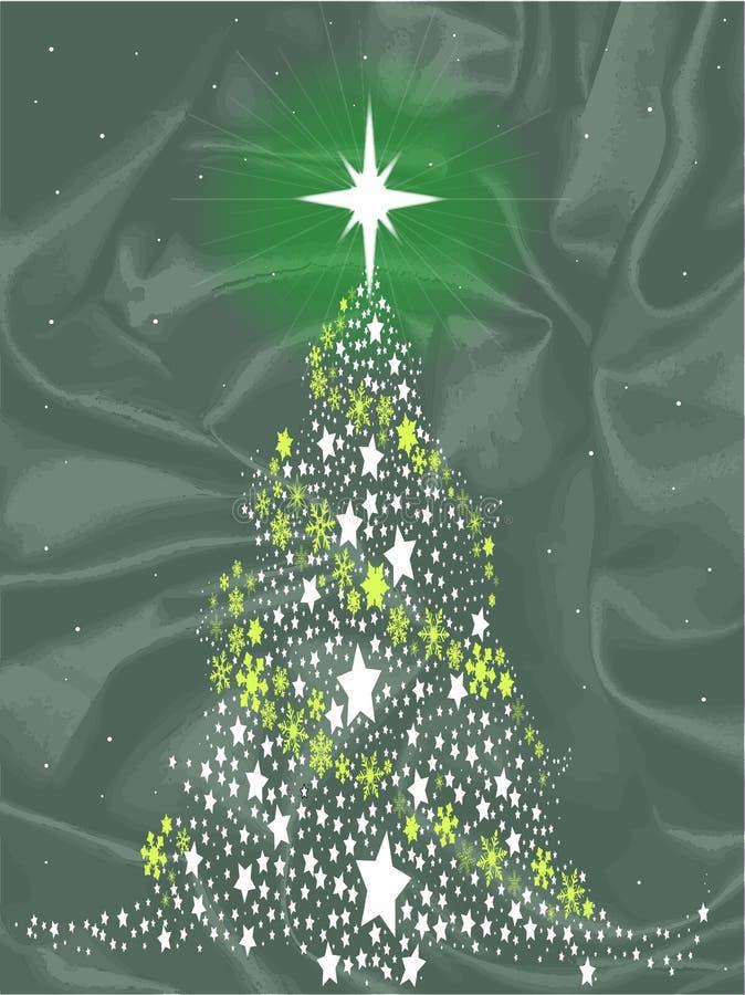 Zijdekerstboom in Groen met Ster stock illustratie
