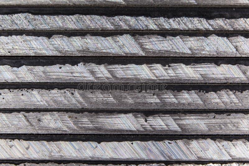 Zijdelings gezien metaal, splijten na het zagen royalty-vrije stock afbeelding