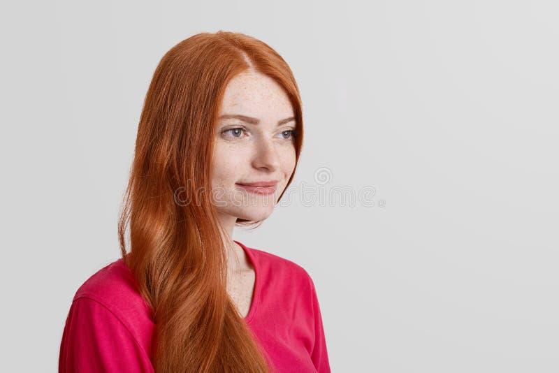 Zijdelings kijkt het portret van nadenkende freckled gember het vrouwelijke model sommige prettige ogenblikken in het leven herin stock afbeelding