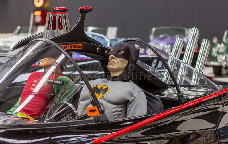 Zijdetail van Batman-Auto Batcar stock foto
