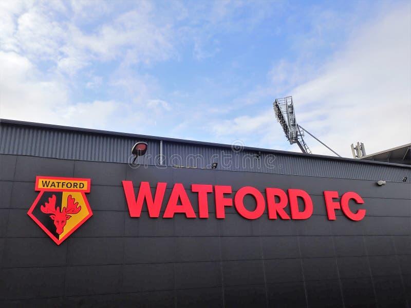 Zijgevel van Watford-het stadion van de Voetbalclub, Beroepsweg, Watford royalty-vrije stock fotografie