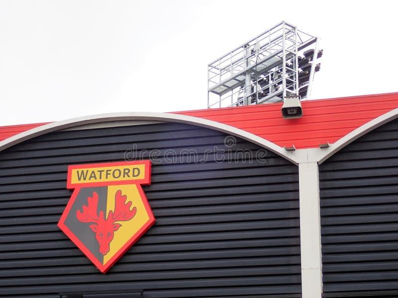 Zijgevel van Watford-het stadion van de Voetbalclub, Pastorieweg, Watford stock fotografie