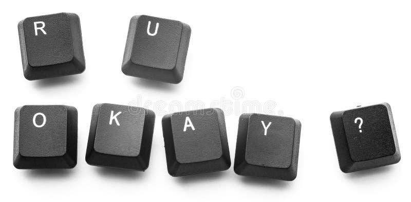Zijn de toetsenbordknopen schrijven 'o.k. u? ' Isoleer op witte achtergrond stock fotografie