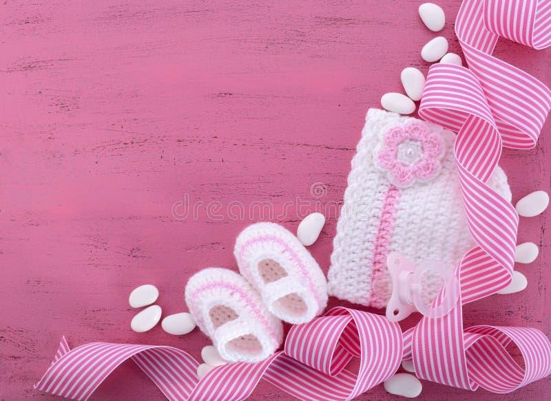 Zijn een de Douche of het Kinderdagverblijfachtergrond van de Meisjesbaby stock foto