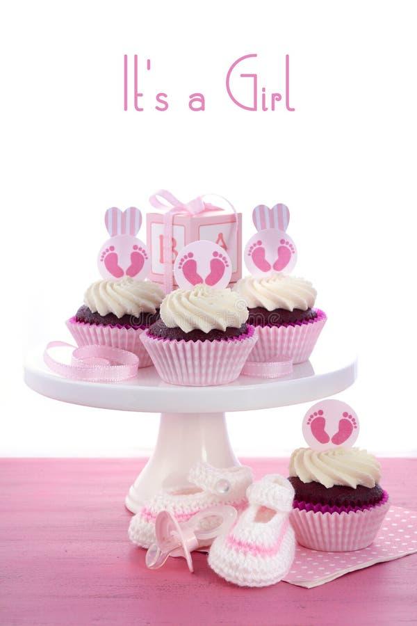 Zijn een Douche Cupcakes van de Meisjesbaby royalty-vrije stock afbeelding