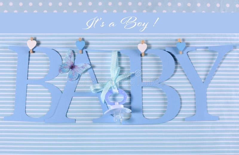 Zijn een jongen, blauwe bunting van de themababy brieven stock afbeelding