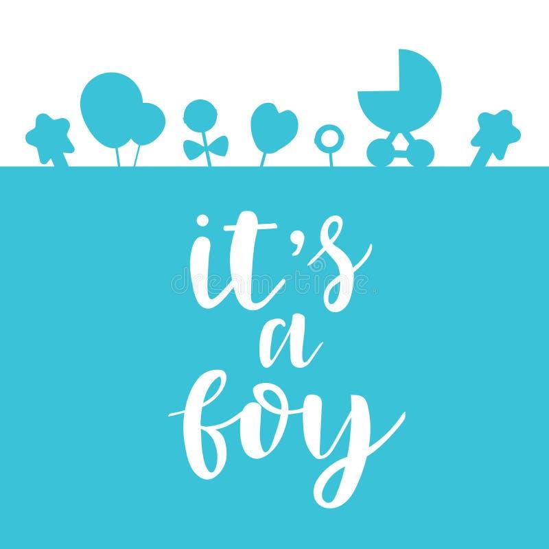 Zijn een jongen het van letters voorzien uitnodiging van de babydouche, de kaart van de vieringsgroet, prentbriefkaar, kenteken,  vector illustratie