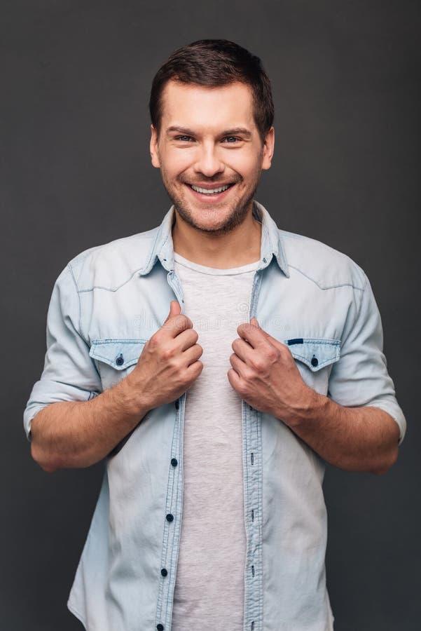 Zijn glimlach overweldigt stock foto