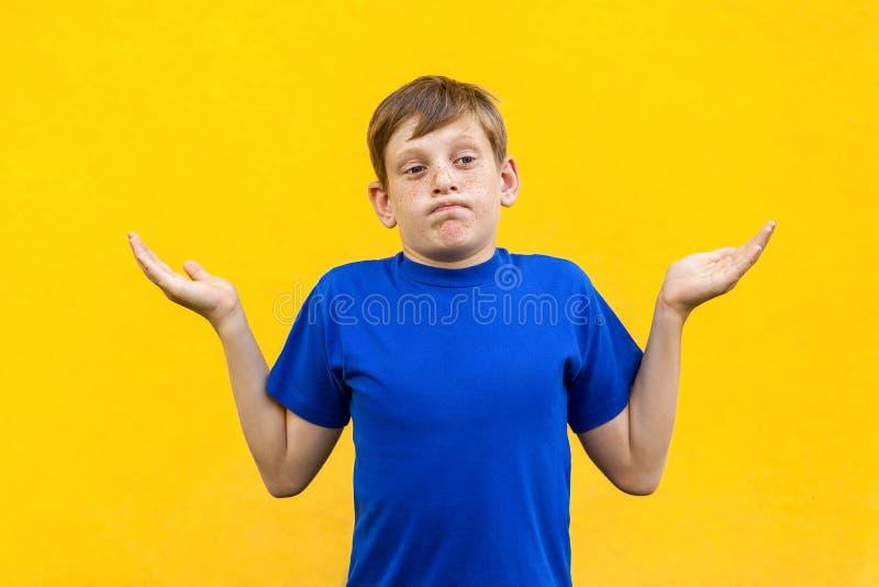 Zijn nr mijn probleem Jonge jongen die met sproeten cameraverstand bekijken royalty-vrije stock afbeeldingen
