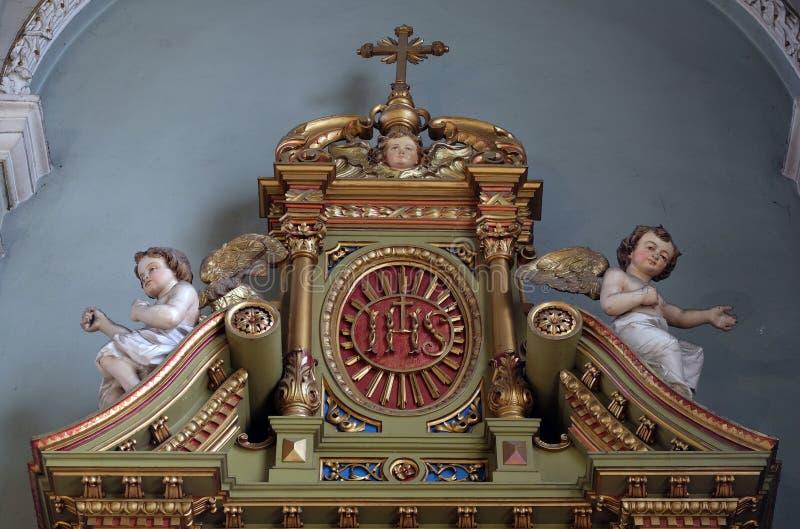 ZIJN teken op het altaar in de Basiliek van het Heilige Hart van Jesus in Zagreb stock fotografie