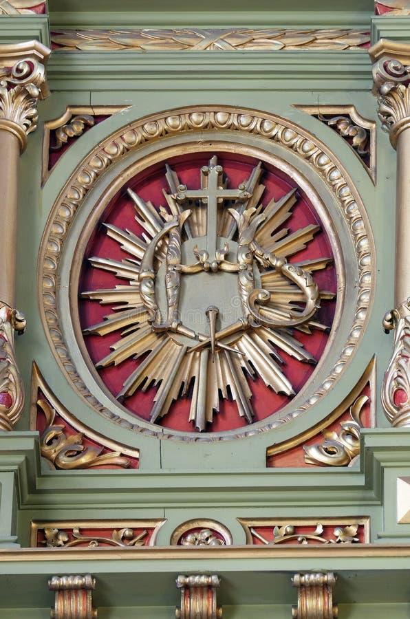ZIJN teken op het altaar in de Basiliek van het Heilige Hart van Jesus in Zagreb royalty-vrije stock afbeelding