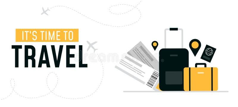 Zijn tijd om ontwerpbanner te reizen vector illustratie