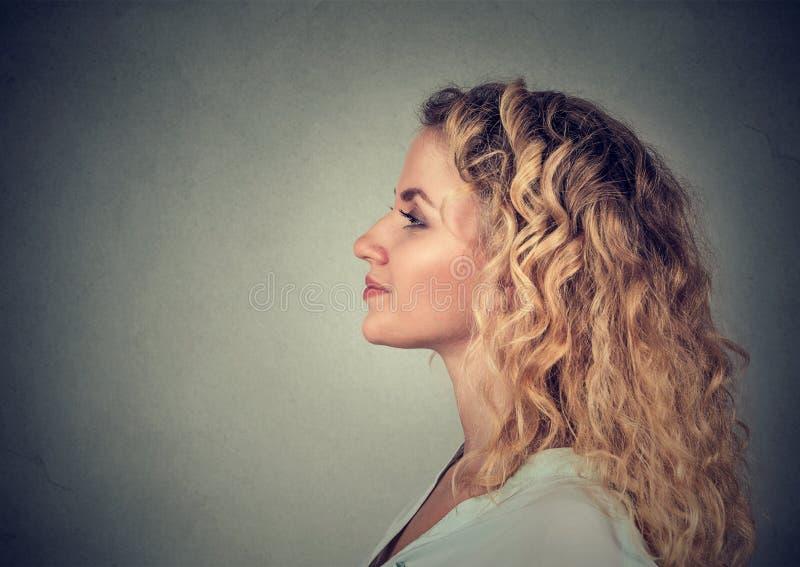 Zijprofiel vrij gelukkige vrouw, het glimlachen royalty-vrije stock afbeelding