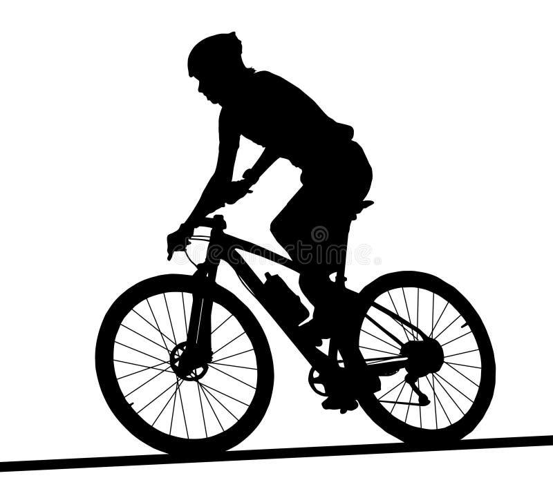 Zijprofielsilhouet van de mannelijke raceauto van de bergfiets vector illustratie