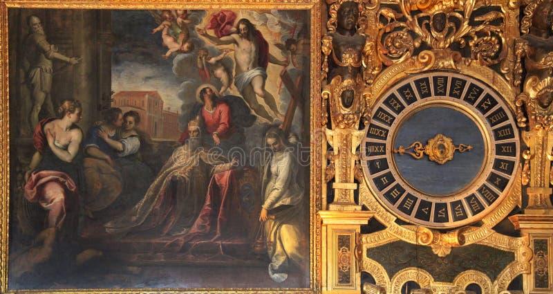Zijsprongenpaleis in Venetië, de de kamerschilderijen van de Raad, Venetië stock foto