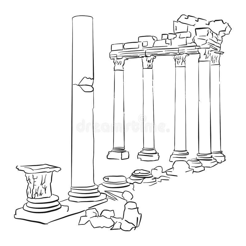 Zijtempel Apollo Turkey Sketched stock illustratie