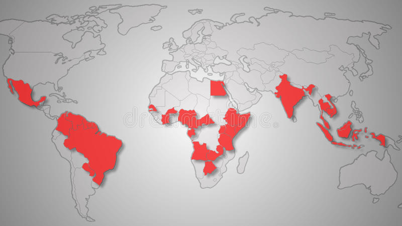 Zika病毒传播世界地图例证 库存图片