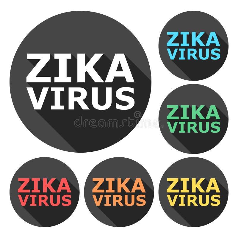 Zika病毒戒备,象设置了与长的阴影 向量例证