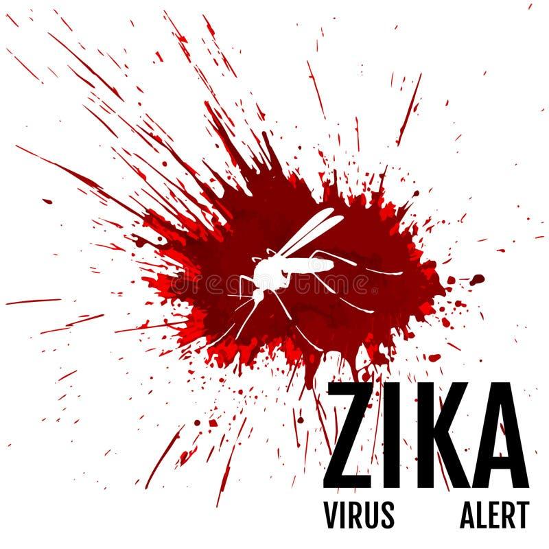 Zika病毒戒备 与词组的蚊子 库存例证