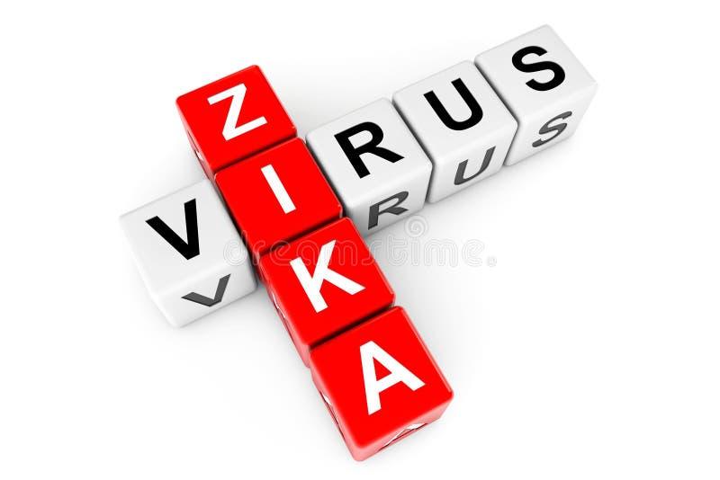 Zika病毒标志当纵横填字谜块 3d翻译 向量例证