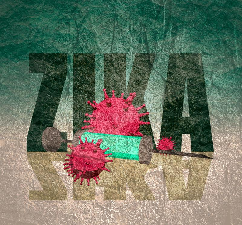 Zika desease, abstract virus models and syringe. Abstract virus image on backdrop and zika text. Zika virus danger relative illustration. Medical research theme vector illustration