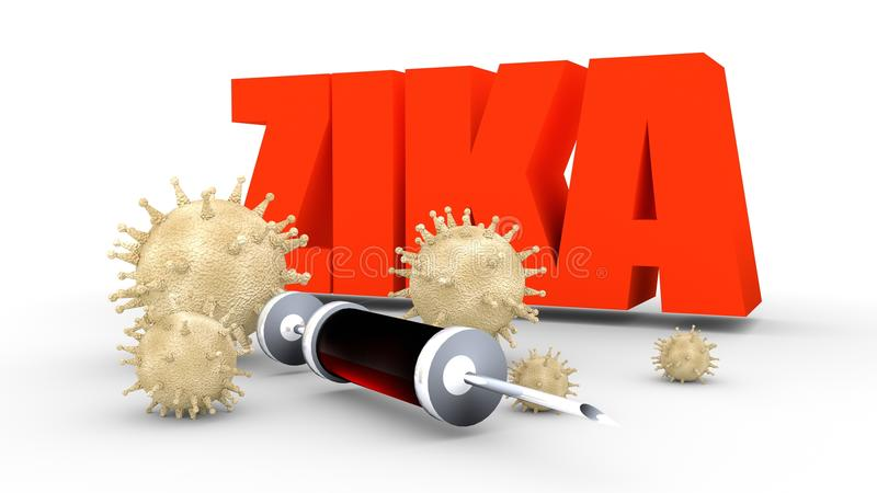 Zika desease, abstract virus modes and syringe. Abstract virus image on backdrop and zika text. Zika virus danger relative illustration. Medical research theme vector illustration