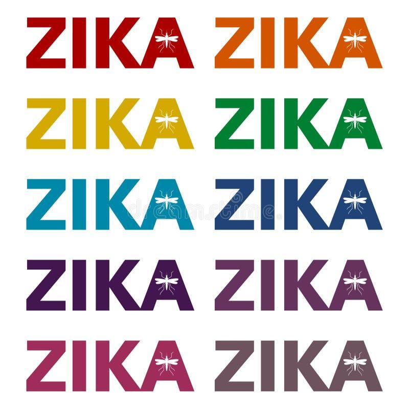 Zika-Virus-Alarmikonen eingestellt lizenzfreie abbildung