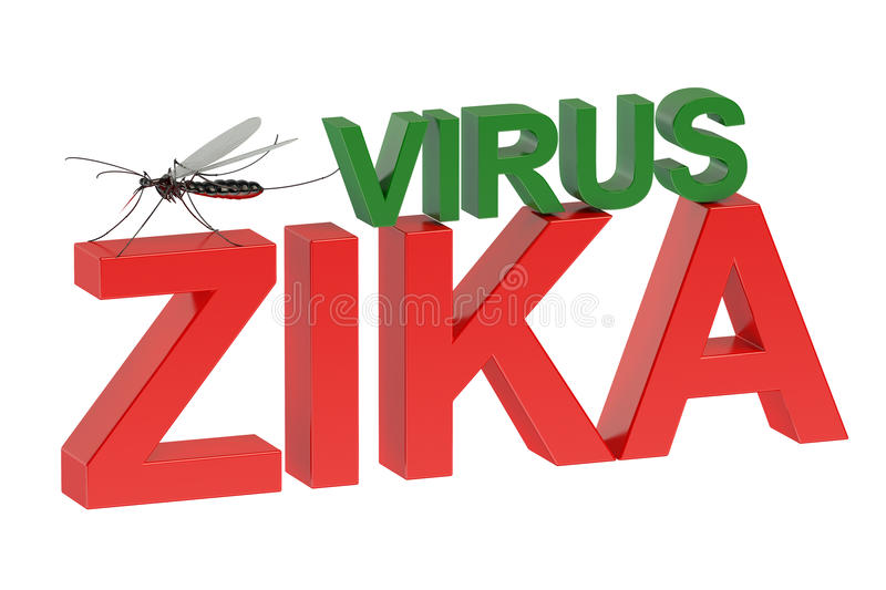 Zika virus concept. Isolated on green background stock illustration