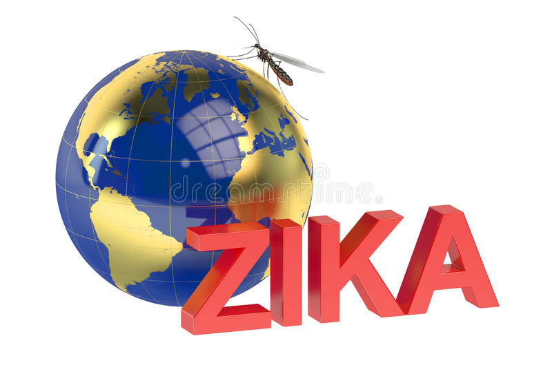 Zika virus concept. Isolated on green background vector illustration