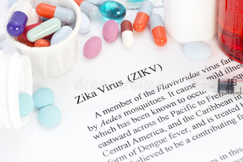 Zika Virus. Concept photo with syringes and medication royalty free stock images
