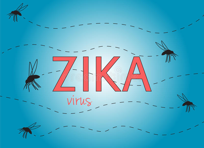 Zika virus. Illustration with text and flying mosquitoes on blue background royalty free illustration