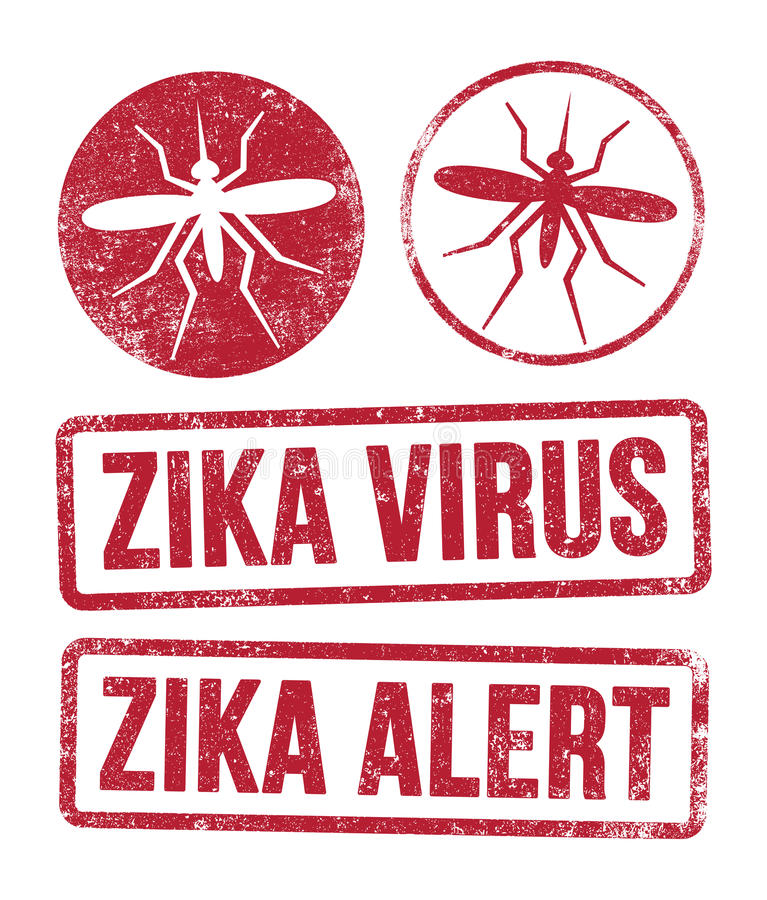 Zika virus stamps. Vector illustration of red ink stamps about the Zika virus stock illustration