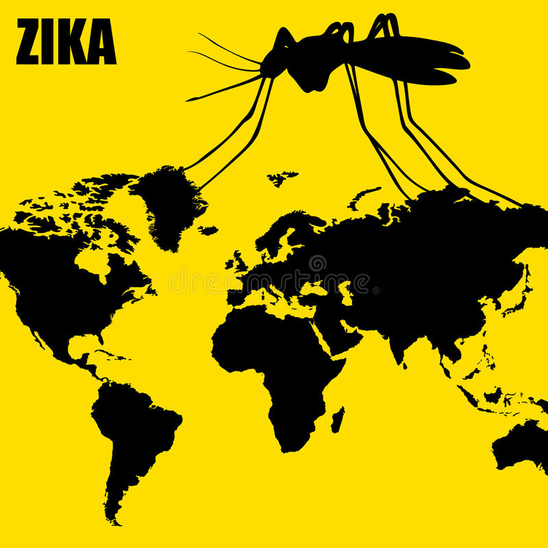 Zika virus threat. Zika virus spreading through mosquitos, threatening public health vector illustration