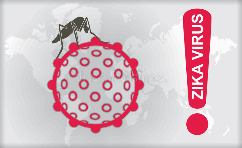 Zika wirus z ostrzeżeniem ilustracja wektor